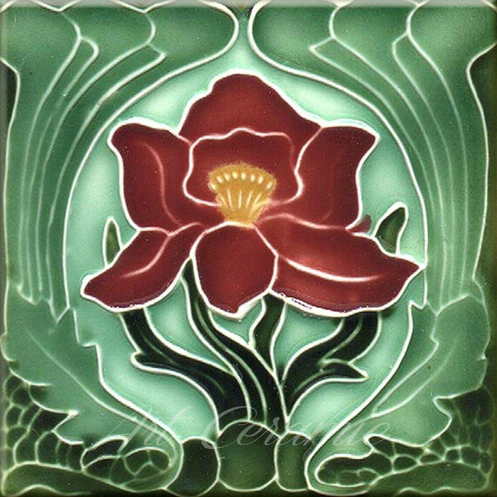 Art Nouveau Ceramic Tile Reproduction This List Is For 1 Ceramic Wall Tile The Tile Are Flat And Smooth Bright Art Deco Tiles Art Nouveau Decor Art Nouveau