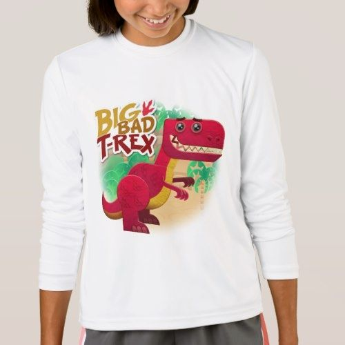 Big Bad T-Rex Girls' Sport-Tek Long Sleeve T-Shirt