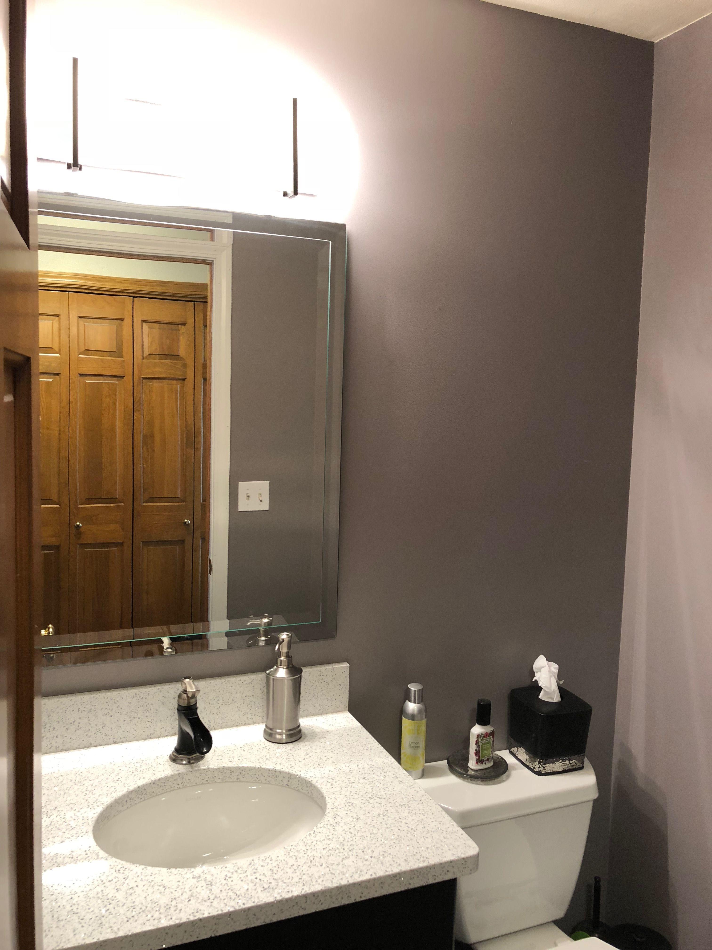 Glidden Smoky Charcoal powder room. love glidden -warm grey flannel   my house