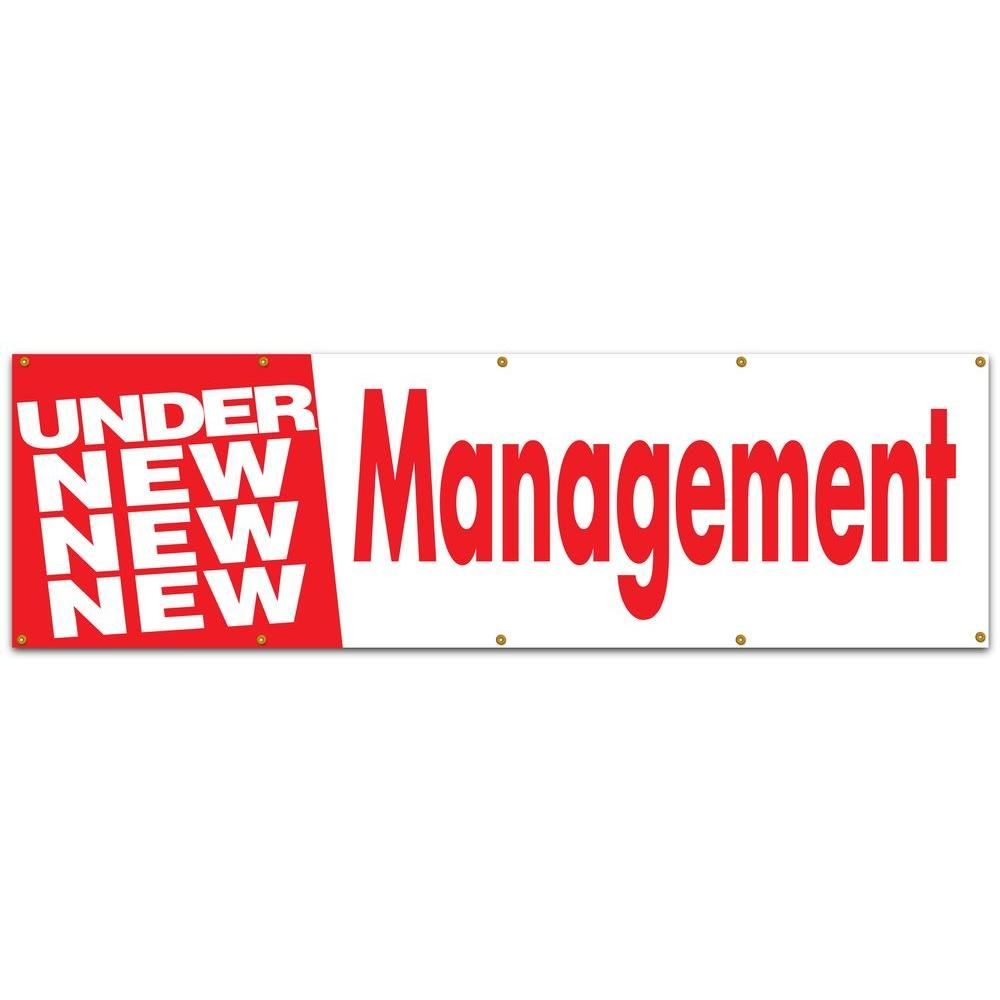 10 ft. x 3 ft. Red on White Vinyl Under New Management Banner, White With Red Lettering