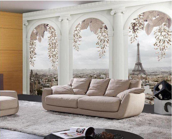 Beibehang Fashion 3d Big Mural Wallpaper Hd Balcony Window: 3d European Style Arches Balcony Overlooking Paris