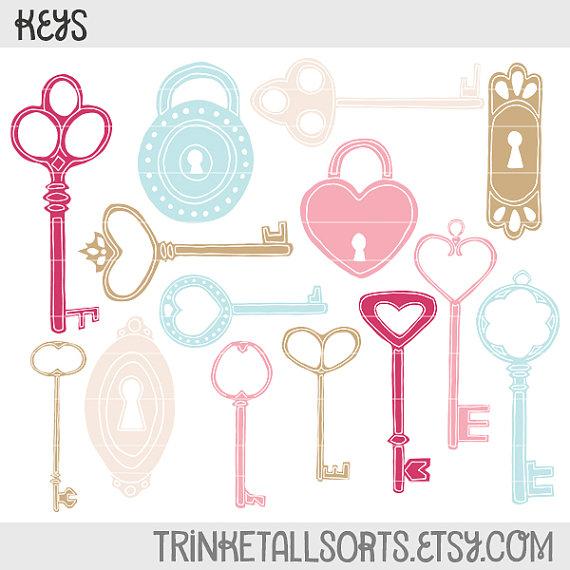 Keys Locks Hand Drawn Clip Art