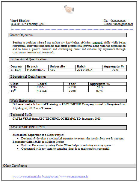 Fresher Resume Sample of a Fresher B Tech Mechanical with – Objectives for Resume for Freshers