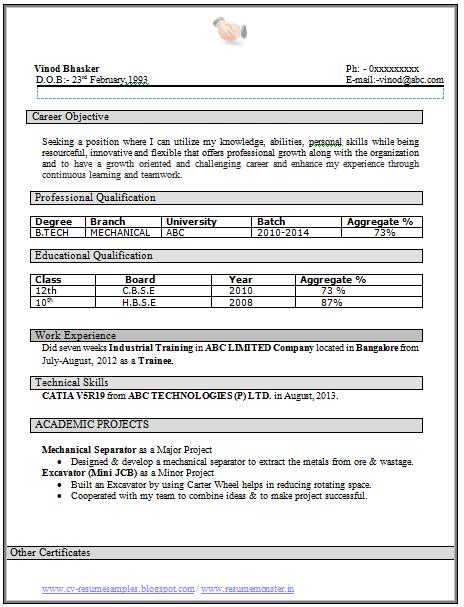 resume samples for b pharm freshers