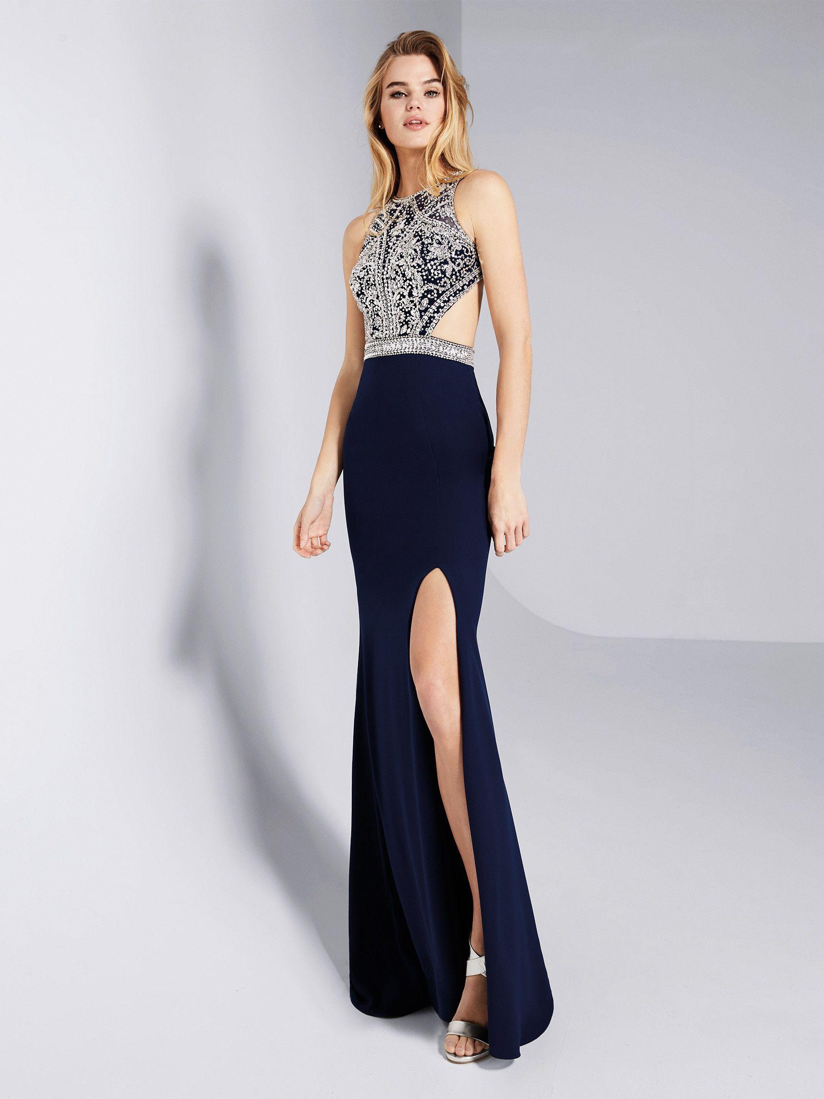 Rückenfreies Abendkleid in Blau | Galce | Pronovias kaufen ...