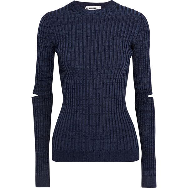 Jil Sander - Cutout Ribbed-knit Sweater ($215) ❤ liked on Polyvore featuring tops, sweaters, navy, navy sweater, navy shirt, cut-out sweaters, jil sander sweater and tailored fit shirts