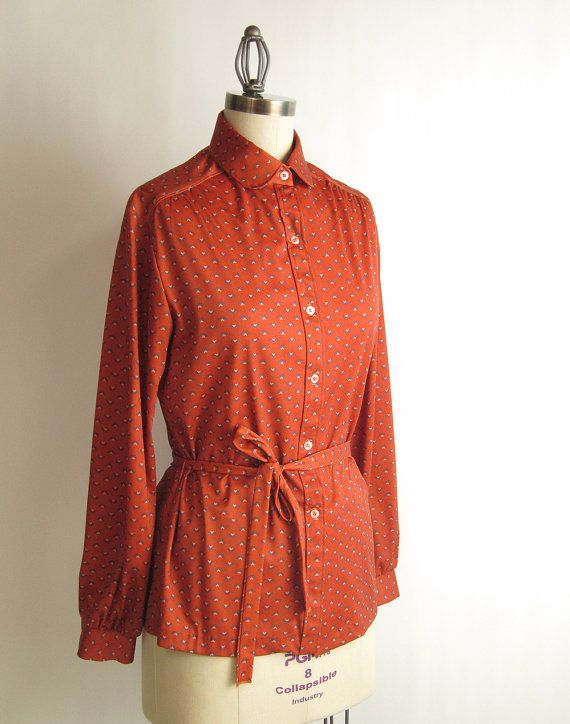 1970s rust tunic blouse  vintage beige and teal by RecentHistory