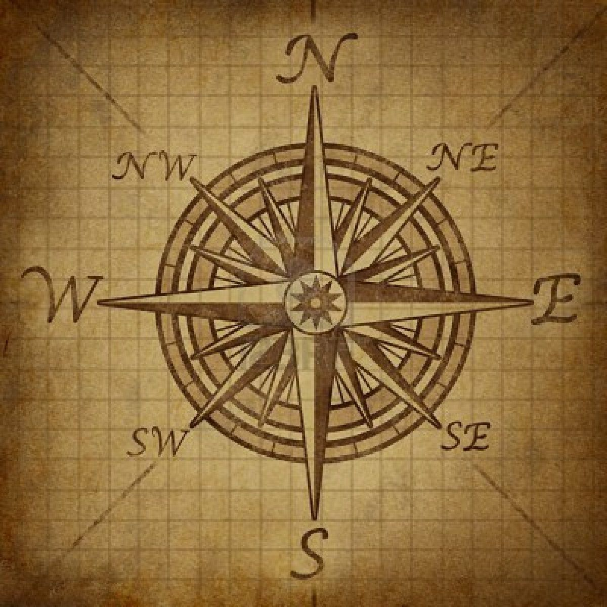Compass Rose With Old Vintage Grunge Texture Representing A