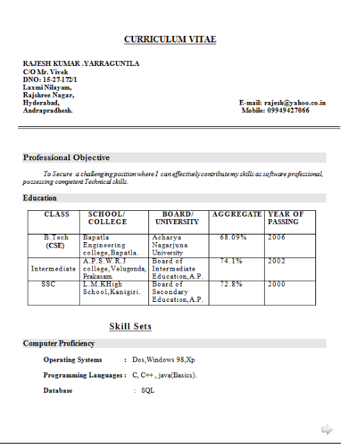 curriculum vitae proforma free download sample template example of excellent resume cv format with career objective for computer science engineer