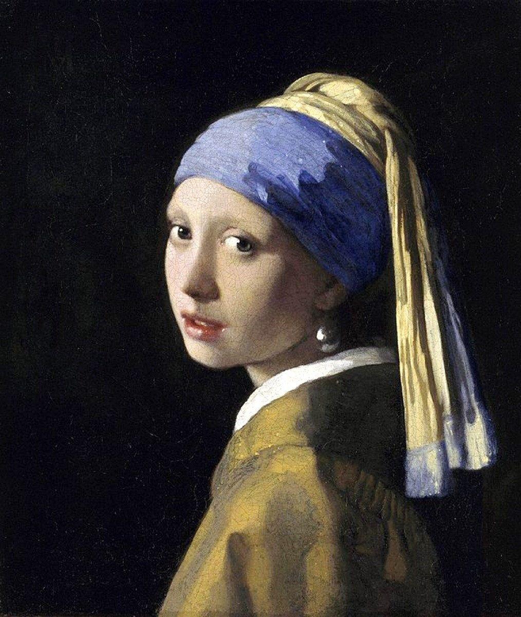 Photo of Girl with the Pearl Earring, Johannes Vermeer, c. 1665, Dutch, Portrait, 11×14″ Cotton Canvas Print, Famous antique paintings, antique art,