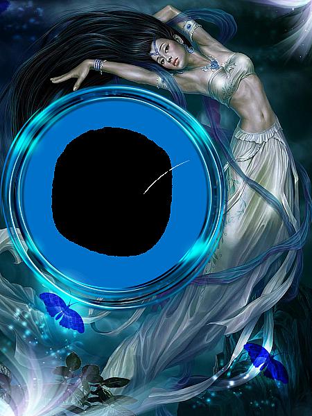 Blue Fantasy Transparent Frame Bingkai Foto Gambar Pemandangan Abstrak