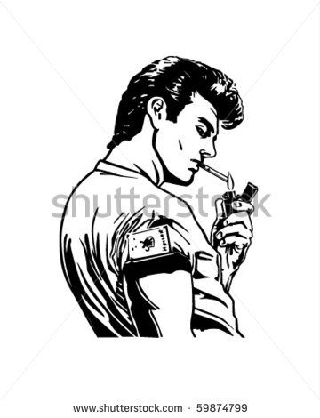 Greaser Lighting Cigarette - Retro Clip Art Stock Vector ...