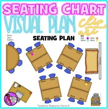 Interactive Classroom Seating Chart Template with movable clip art