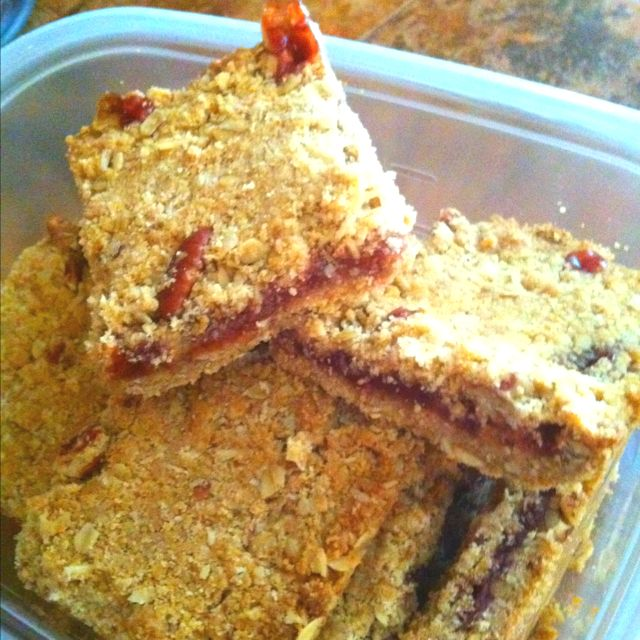 Homemade Strawberry Oatmeal Bars.... Made them this morning! Healthy and kids love them!!