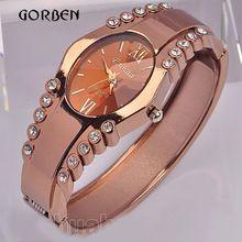 2016 Fashion Bracelet Watches women quartz dress watch luxury rose gold rhinestone Clock Ladies watches hours relogio feminino(China (Mainland))