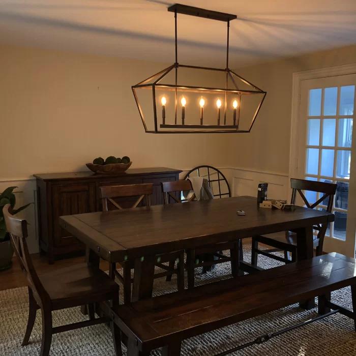 Laurel Foundry Modern Farmhouse Freemont 5 Light Kitchen Island Linear Pendant Reviews Wayfair Kitchen Lighting Lighting Dining Room Table
