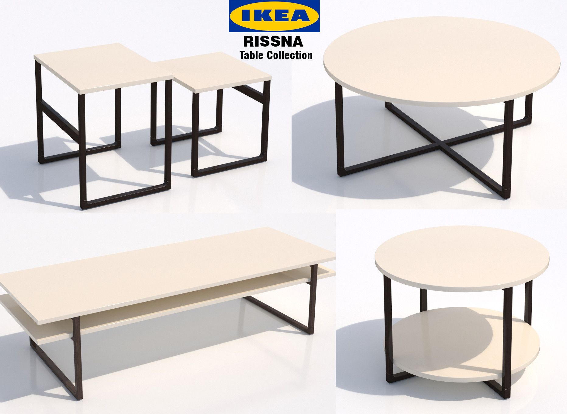 Ikea Rissna Table 3d Max 3d Model Table Ikea Coffee Table [ 1360 x 1863 Pixel ]