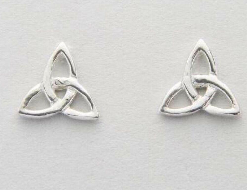 Solid 925 Sterling Silver Trinity Knot Heart Stud Earrings Celtic Jewellery