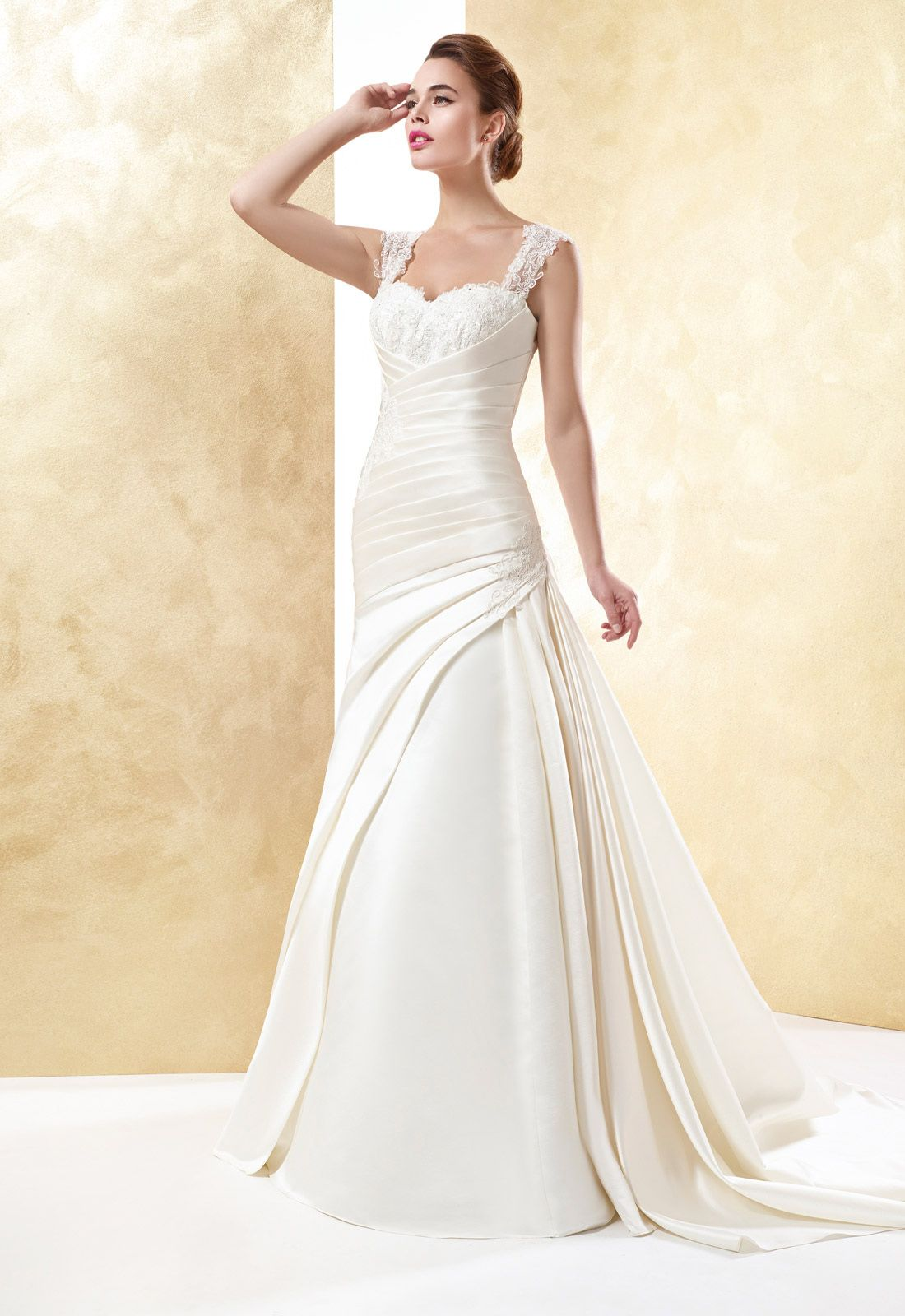 Lace wedding dress under 300  Simple Aline Straps Beading Lace Ruching SweepBrush Train Satin