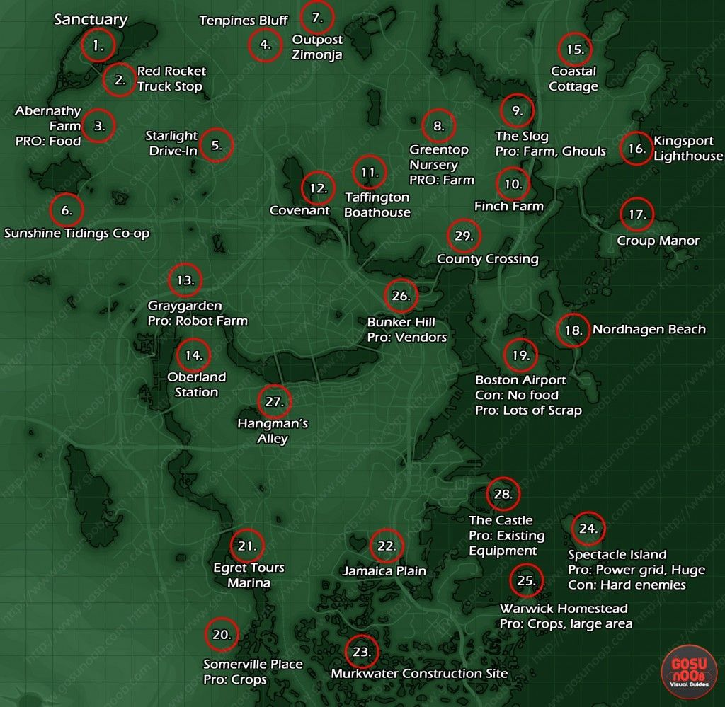 settlement locations map fallout 4 | Video Games | Fallout ...