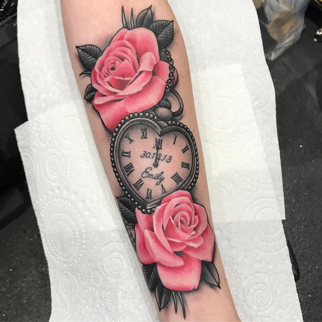 Birds Locket Timepiece Full Sleeve: Heart Shaped Pocket Watch And Pink Roses Done Today On
