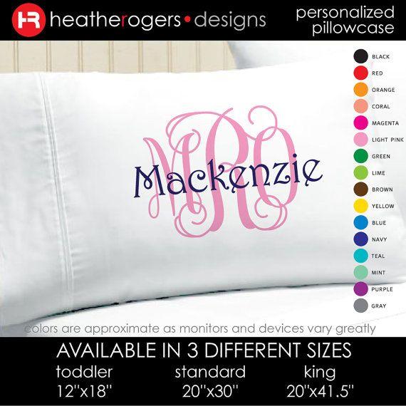 Monogram Pillowcase - Girls Personalized Pillow case - Printed Monogram Pillowcase for birthday gift, graduation gift
