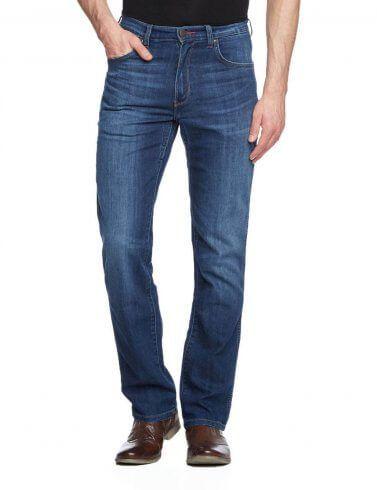 Wrangler Texas Regular Fit Stretch Jeans New Men's Classic Stonewash Blue Denim