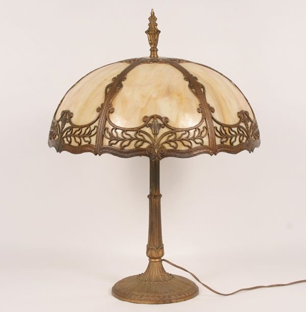 Six panel caramel slag glass table lamp gilt surface floral desing and ornate