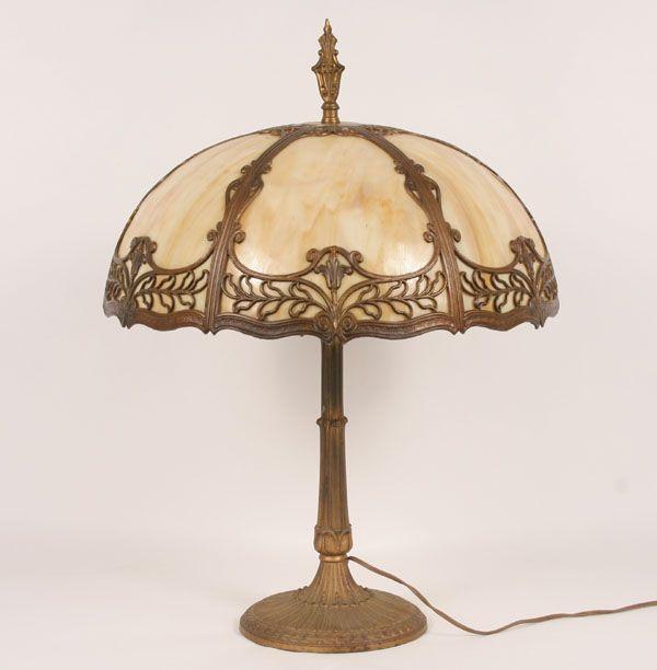 Six panel caramel slag glass table lamp gilt surface floral desing and ornate