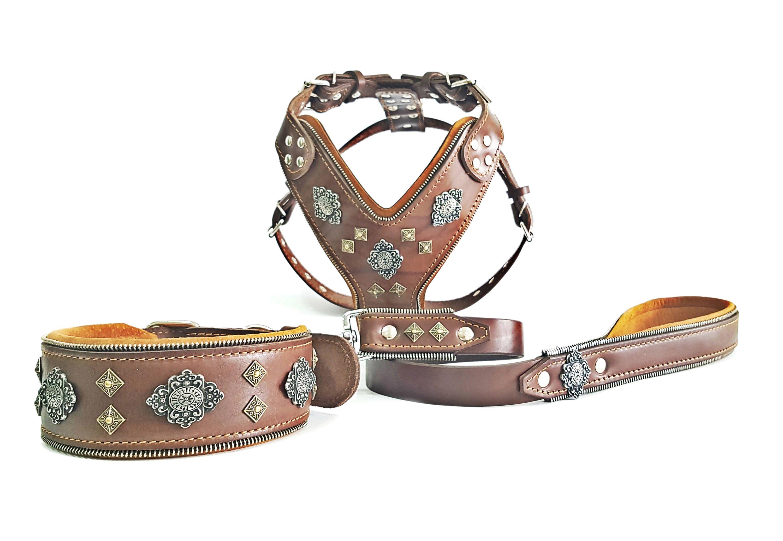 Bestia Full Aztec Big Dog Set Harness Collar Lead Soft
