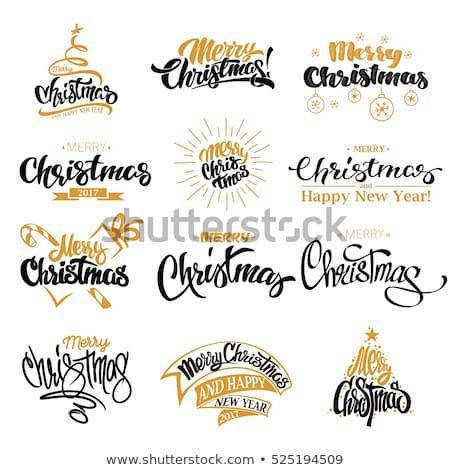 Vetor stock de Conjunto de design de letras Feliz (livre de direitos) 525194509 #merrychristmasschriftzug