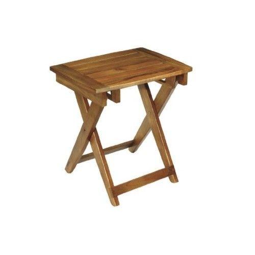 Teak Wood Folding Shower Seat Indoor Outdoor Bathroom Chair Bench