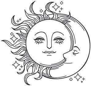 Vintage Celestial Design Pack Urban Threads Unique And Awesome Embroidery Designs Moon Coloring Pages Embroidery Patterns Vintage Star Coloring Pages