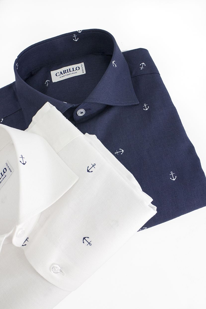timeless design 11e07 39a41 Camicia Lino Uomo Slim Fit | Camicia Blu Notte Fantasia ...