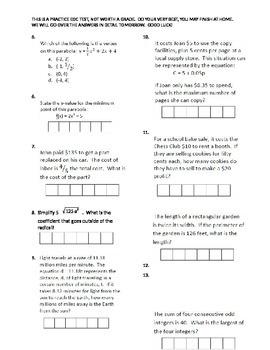Practice EOC Test 1 | Common core curriculum, Algebra ...
