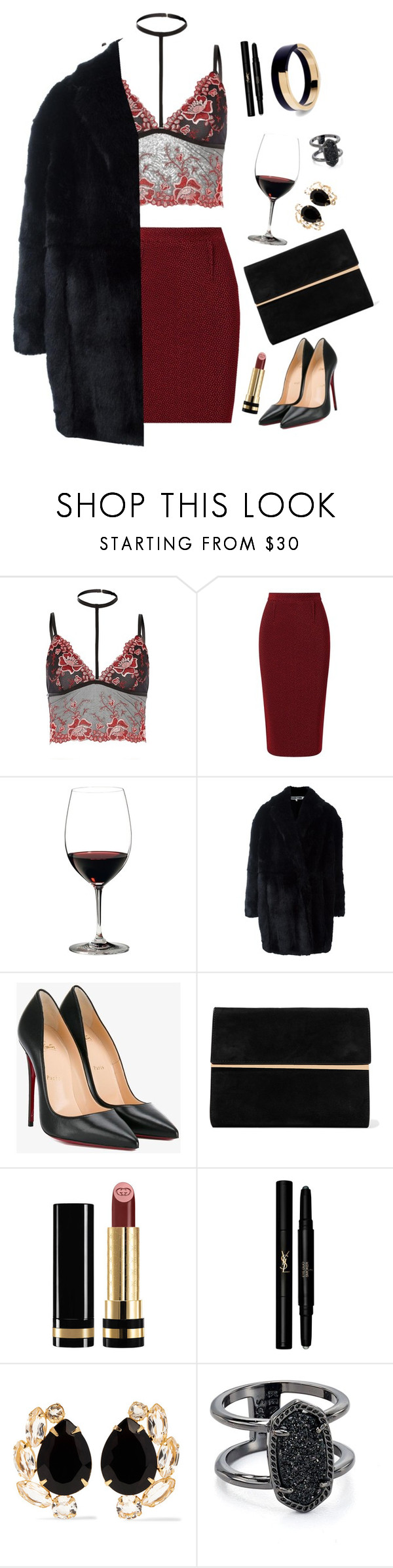 """""""boy drank all that magnolia wine//0.1"""" by calamythie ❤ liked on Polyvore featuring River Island, Roland Mouret, Riedel, Alexander McQueen, Christian Louboutin, Maison Margiela, Gucci, Yves Saint Laurent, Bounkit and Kendra Scott"""