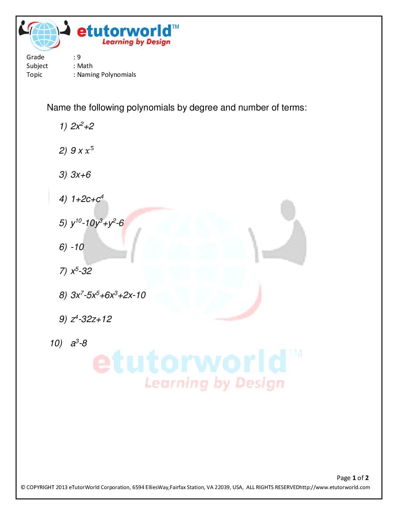 Math Practice Sheet for the topic 'Naming Polynomials' of