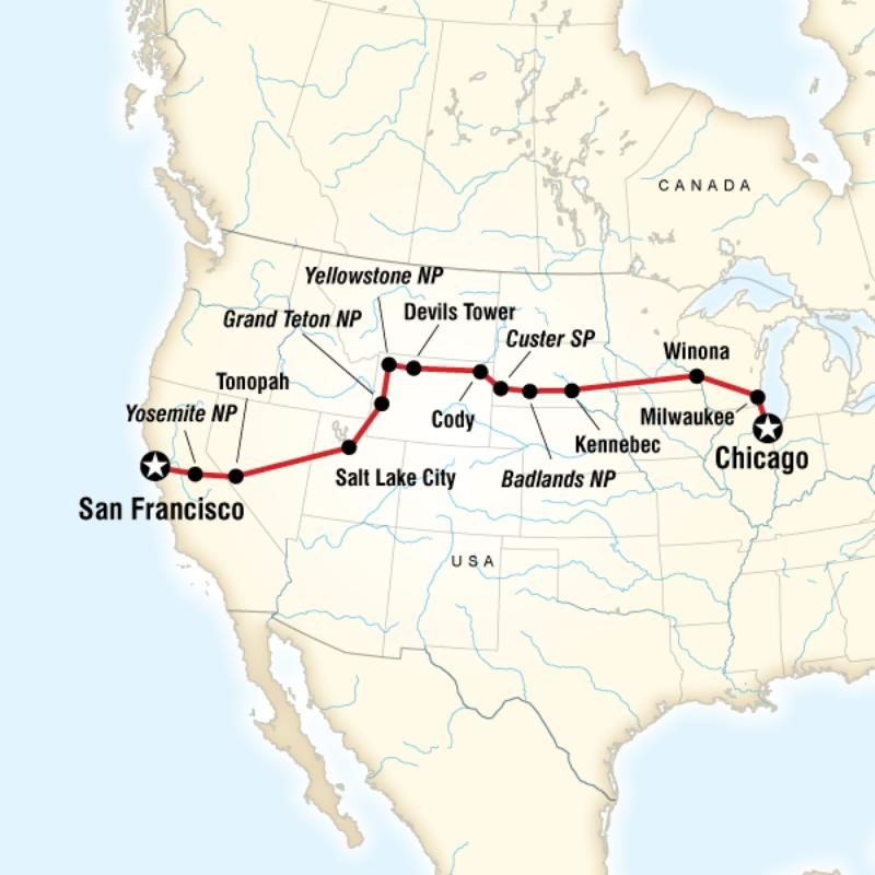 Map Of The Route For Chicago To San Francisco Road Trip San Francisco Road Trip Chicago To San Francisco Road Trip
