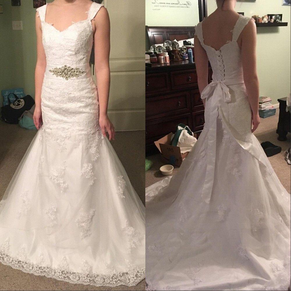 Real Image Vestido De Casamento 2017 Mermaid Wedding Dresses Appliques Bodice Cheap Dress China Sparkly