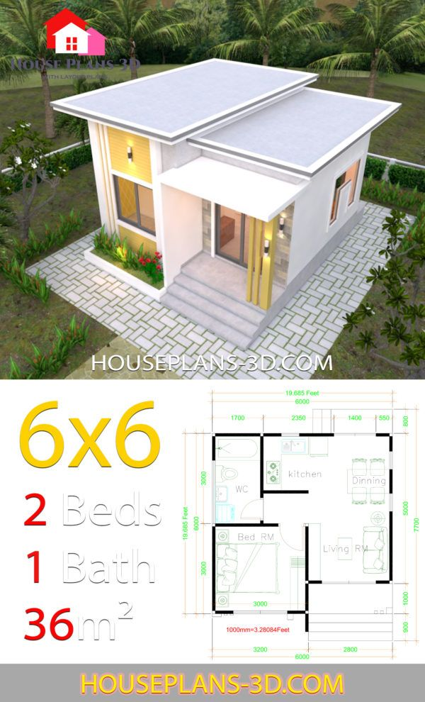 House Plans 6x6 With One Bedrooms Flat Roof House Plans 3d Flat Roof House One Bedroom House One Bedroom House Plans