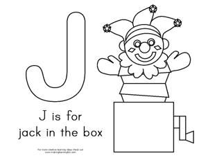 J is for Jack in the Box Coloring Page for a Circus Theme