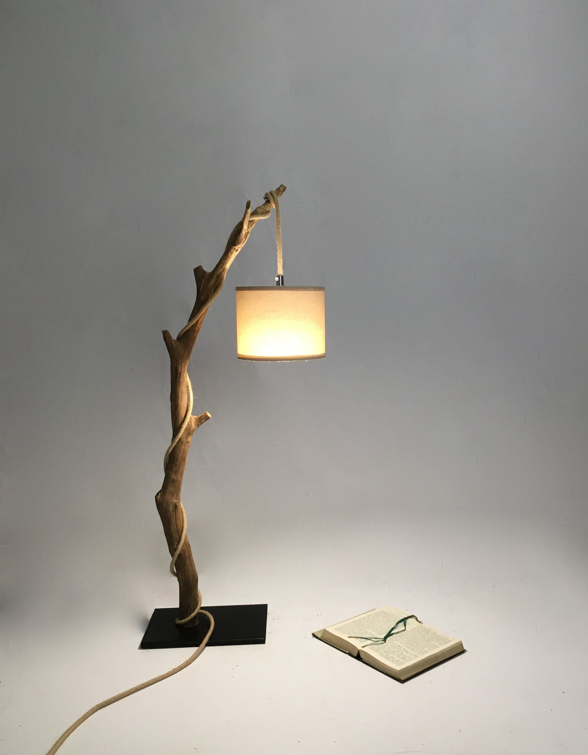 Table Lamp With A Weathered Branch Rope Cable And Edison Bulb Etsy Lamp Table Lamp Tree Floor Lamp