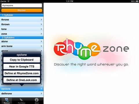 love this rhymezone com and rhymezone app so cool for word work