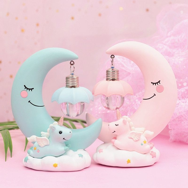 Led Night Light Unicorn Moon Resin Cartoon Night Lamp Luminaria Romantic Bedroom Decor Night Lamp Baby Kids Birthday Unicorn Lamp Led Night Light Nursery Lamp