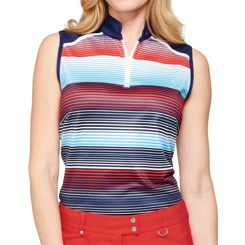 Gg Blue Serena Stripe Mock Sleeveless Golf Outfits Women Womens Golf Fashion Golf Outfit