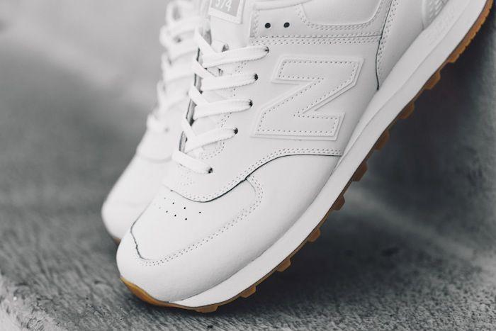 New Balance 574 White On Feet