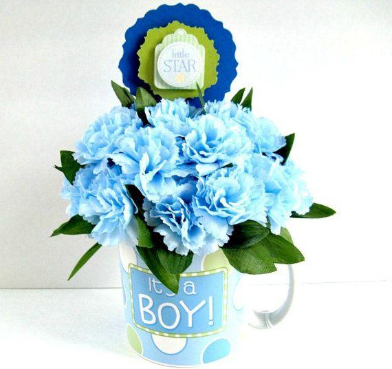 Baby Shower Gift Arrangement Blue Carnation Floral