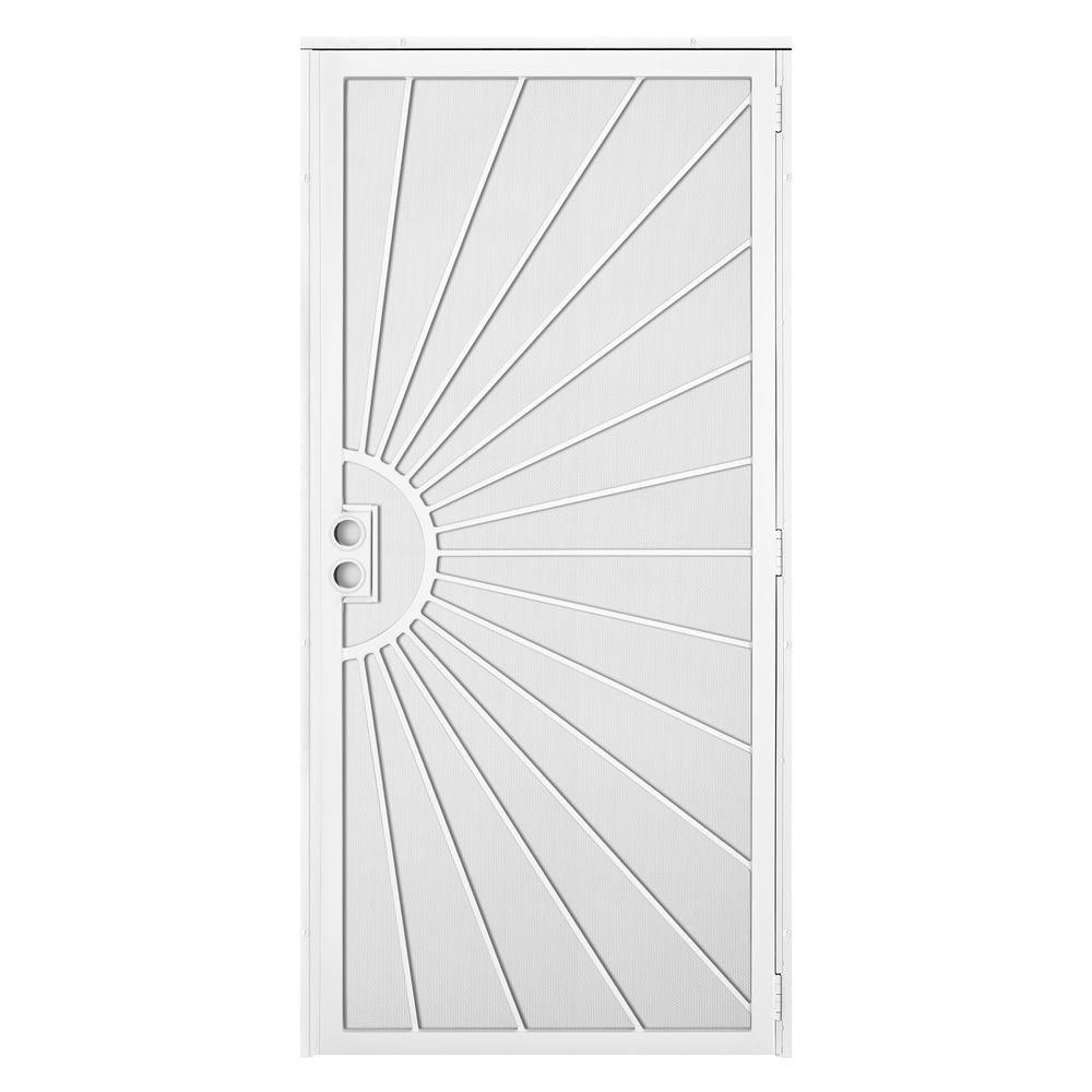 Unique Home Designs 36 In. X 80 In. Solana White Surface Mount Outswing  Steel