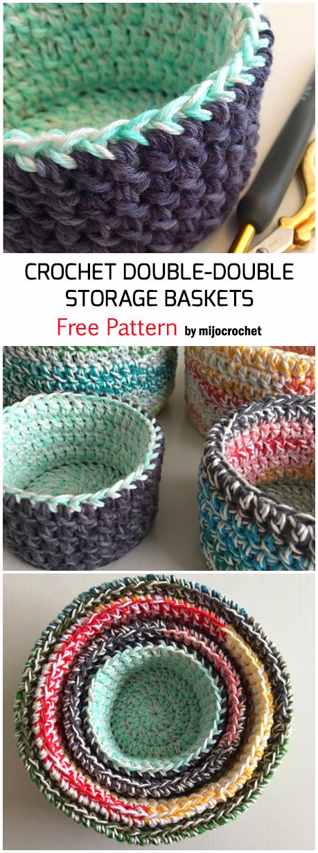 Photo of Crochet Double Double Storage Baskets – Kostenlose Anleitung – – #baskets #Croch…