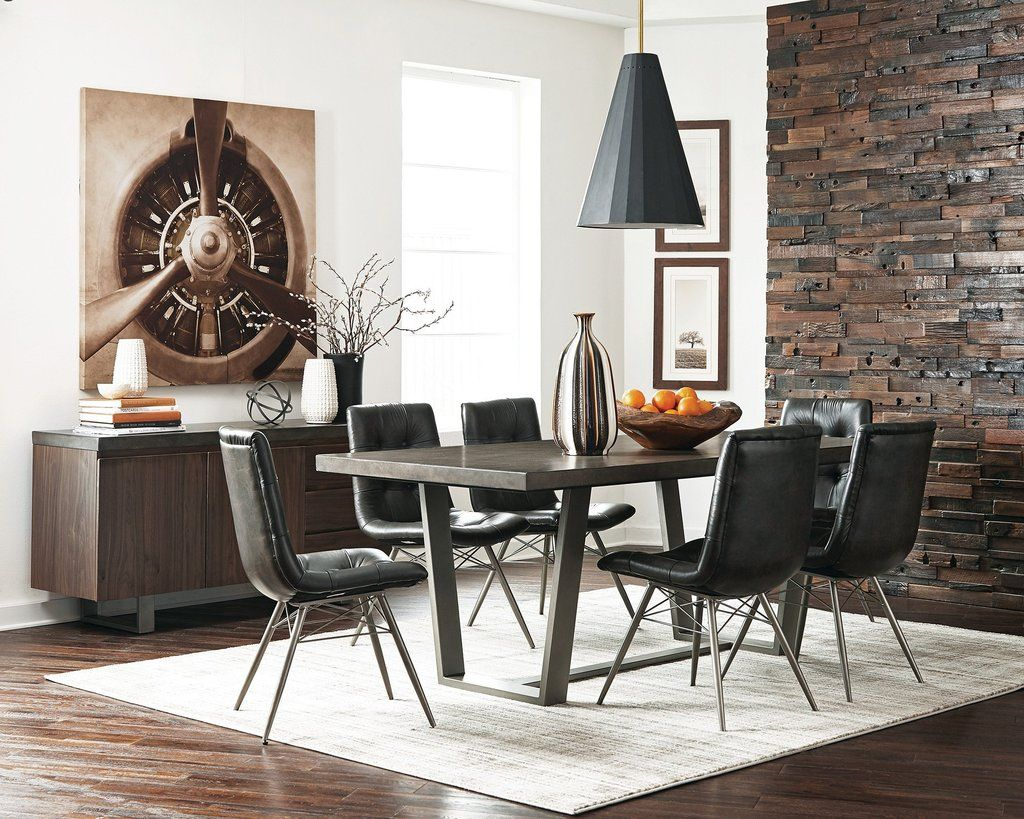 Metal Dining Table with designer base, Gray images